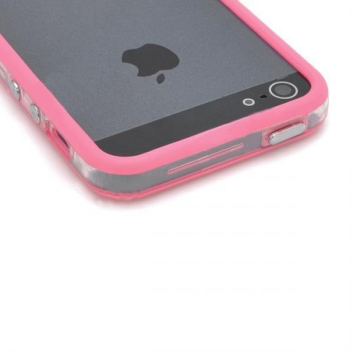 Ochranný silikonový rám pro iPhone 5 - tmavě růžová